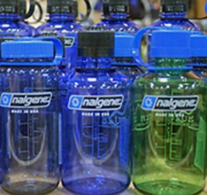 The endocrine disruptor bisphenol A is used in the synthesis of some wildly popular polycarbonate water bottles. Photo from ourstolenfuture.org
